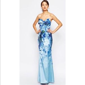 Asos Tall Salon Floral Red Carpet Bow Gown Dress